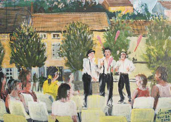 Performers in the square Laignes, France. 2006, (acrylic on canvas board)