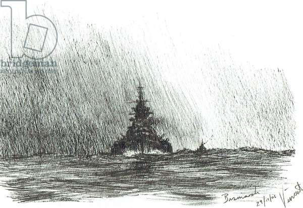 Bismarck heads out, 2006, (ink on paper)