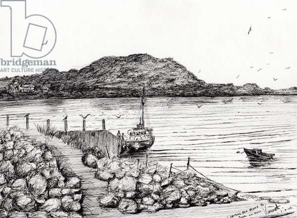 Iona from Mull Scotland, 2007, (ink on paper)