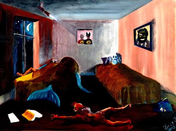 Strange nights on the Isle of Man, 2002 (acrylic on canvas board)