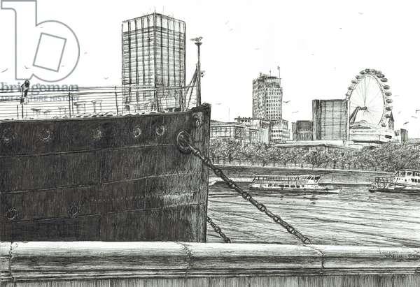 Black Bow on river Thames, 2006, (ink on paper)