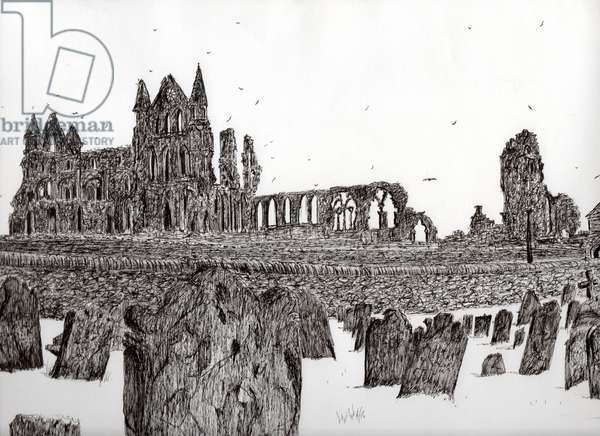 Whitby Abbey, 2007, (ink on paper)