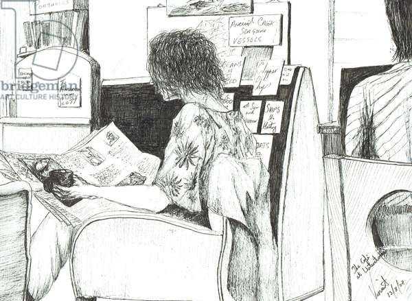 Reading at Waterstones book shop Manchester, 2007, (ink on paper)