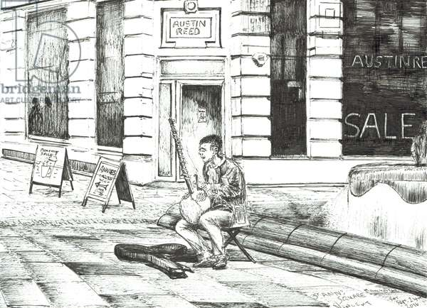 Musician St. Ann's Square, 2016, (ink on paper)