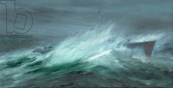 USS Spence lost in Pacific Typhoon December 18th 1944, 2019, (oil on canvas board)