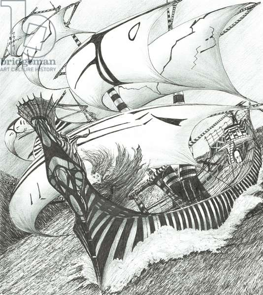 Storm Creators Java Sea, 2017, (ink and pencil on Paper)