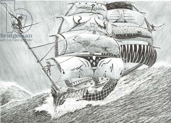 Storm Creators Irish Sea, 2017, (ink and pencil on Paper)