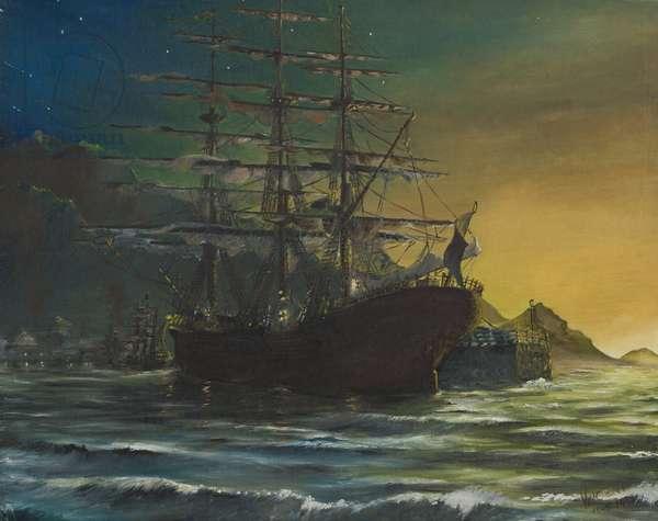 Clipper ship in port 1860's, 1991,  (oil on canvas board)