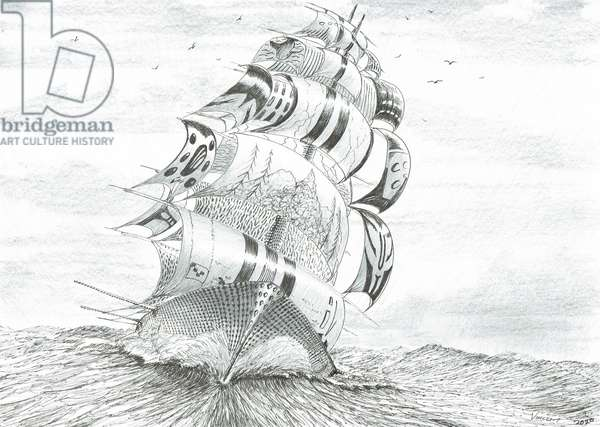 Storm Creators Galilee Lake Sea, 2020, (ink and pencil on paper)