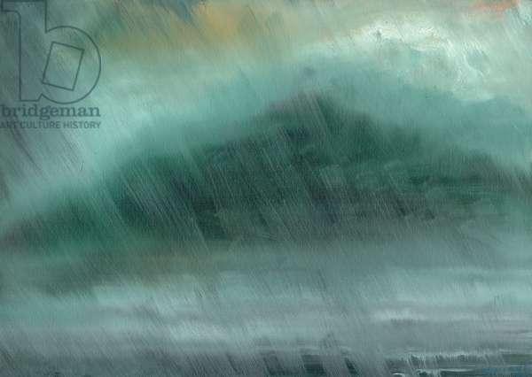 Mountains rain, 2017, (oil on canvas board)
