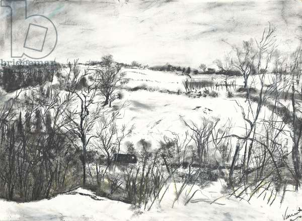 Snow over land at Osmotherley, 1997, (pastels on paper)