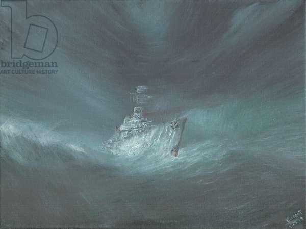 USS Warrington lost in Hurricane off Bahamas September 13th 1944, 2019 (oil on canvas board)