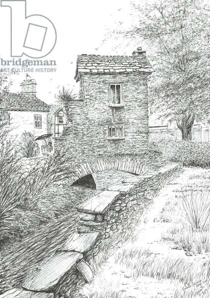 Bridge House Ambleside, 2019, (ink on paper)