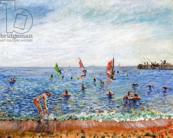 Poblenou Beach Barcelona, 2002, (acrylic on canvas board)