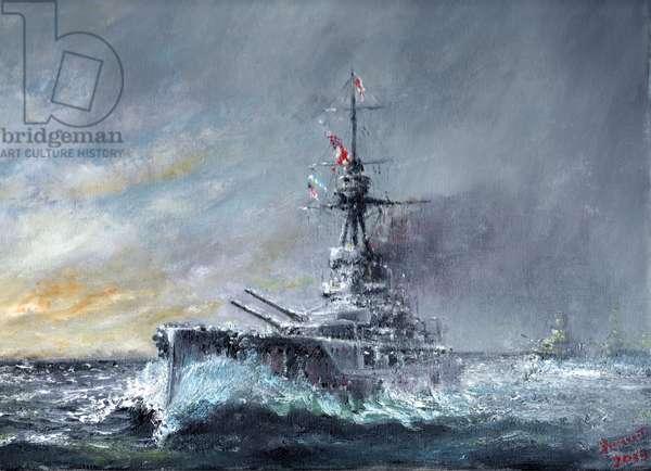 Equal-Speed-Charlie-London, Jutland 1916, 2015, (oil on canvas)