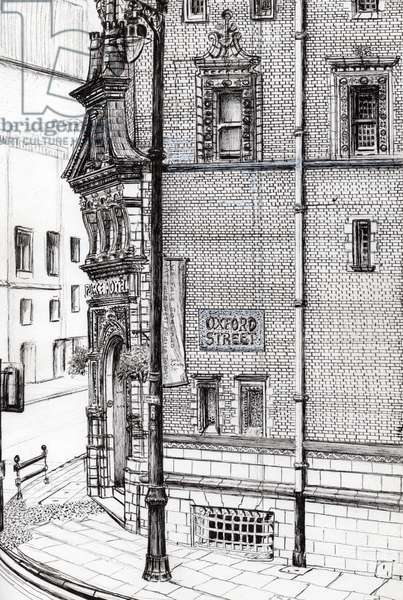 Palace Hotel,Oxford Street, Manchester, 2012, (ink on paper)