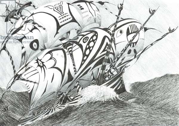 Storm Creators Arabian Sea, 2017, (ink and pencil on Paper)