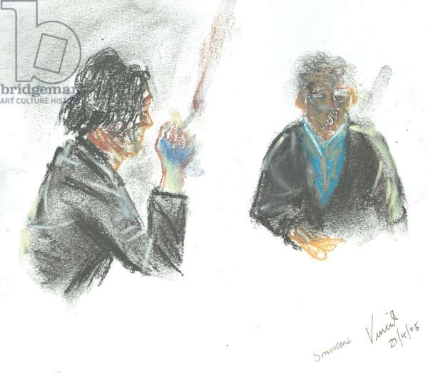 Pub Smokers, 2005, (pastels on paper)
