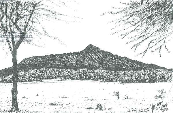 Mountain from boat club at lake Naivasha, Kenya; 2006, (ink on paper)