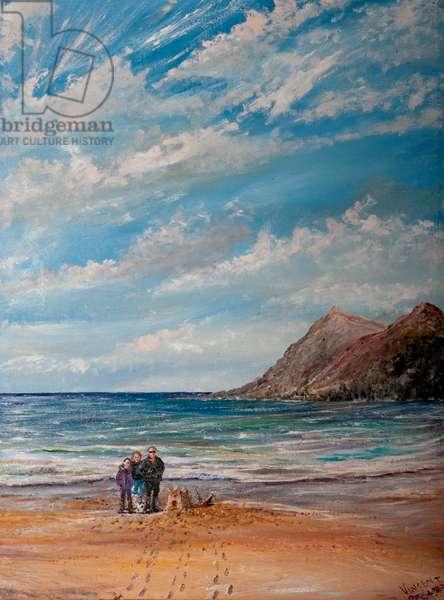 Beach, 2020, (oil on canvas board)