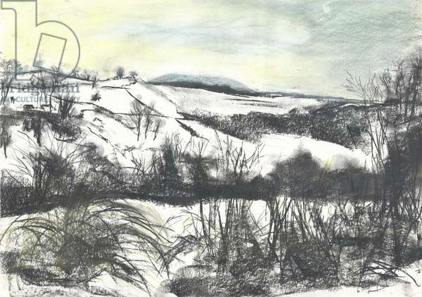Osmotherley landscape in winter snow, 1997, (pastels on paper)