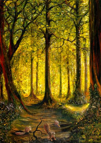 Woodland Yellow 2, 1996-2021 (oil on canvas board)