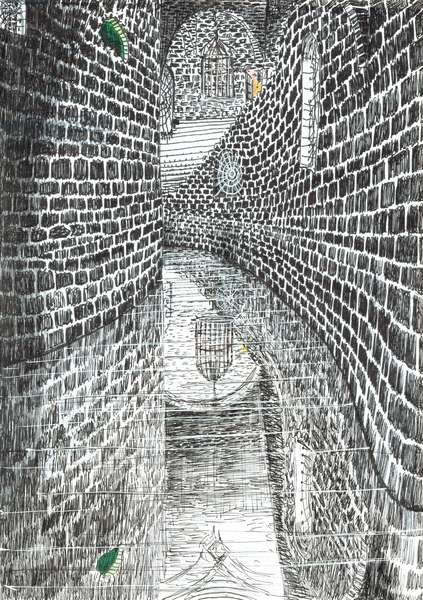 page35,The Castle in the Forest of Findhorn, 2006, (ink on paper)