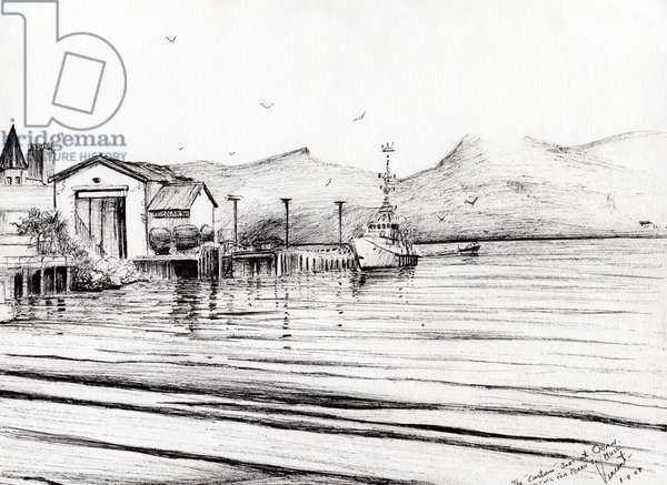 Customs boat at Oban, 2007, (ink on paper)