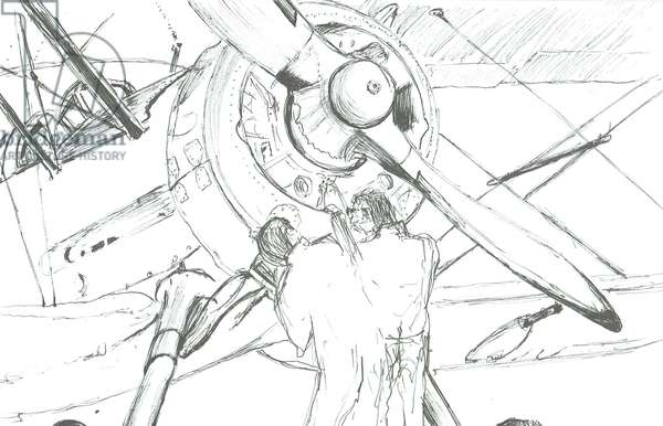 Mechanics work on Gladiator, 2012, (ink on paper)