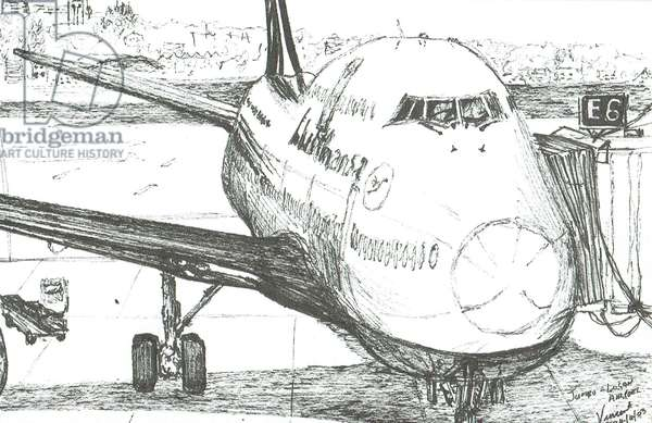 Jumbo Jet at Logan Airport, 2003, (ink on paper)