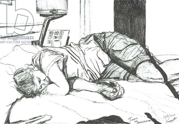 Jane asleep in Barcelona, 2002, (ink on paper)