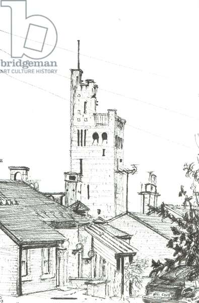 Tower in Knutsford, 2003, (ink on paper)