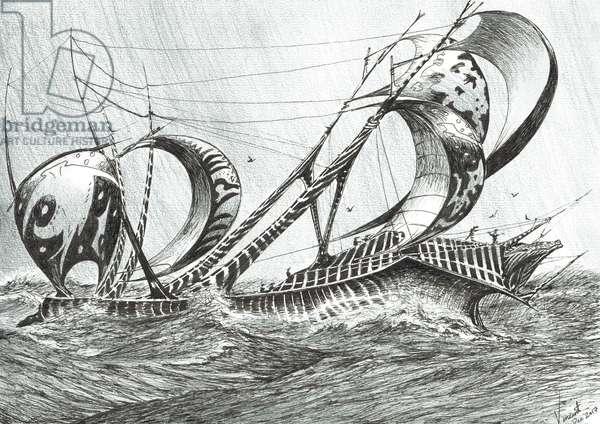 Storm creators Tyrrhenian Sea, 2018, (ink and pencil on paper)