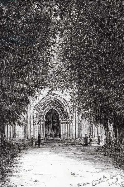 the Roman Door l'abbey de blassimon, 2010, (ink on paper)
