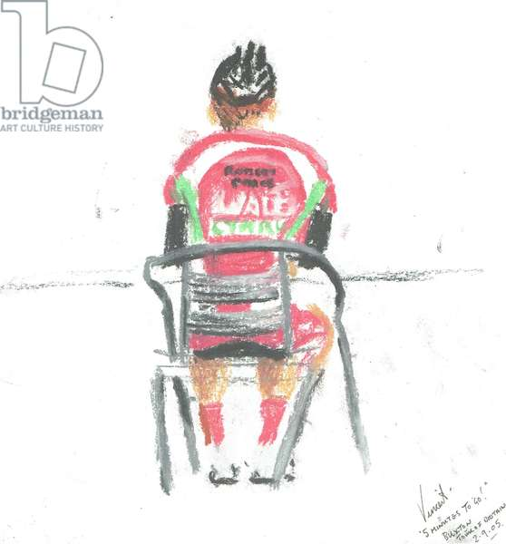 5 minutes to go! Tour of Britain, Buxton, 2005, (pastels on paper)
