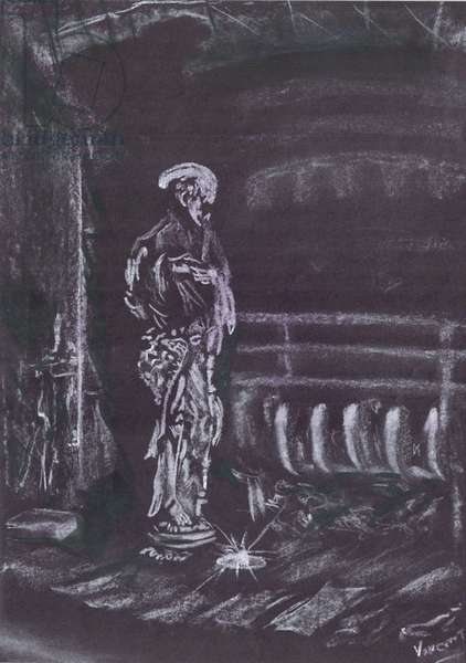 Statue by fireplace in candlelight, 1997, (pastels on paper)