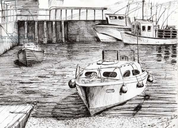 Boats at Islay Scotland, 2005, (ink on paper)