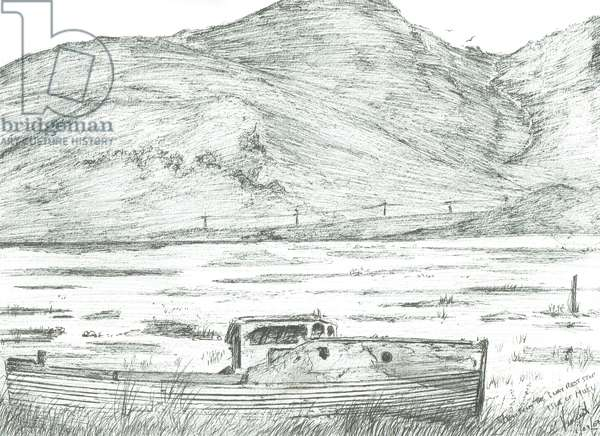 Boat on dry land,Isle of Mull, 2007, (ink on paper)