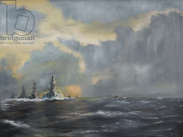 Japanese fleet in Pacific 1942, 2013, (oil on canvas)