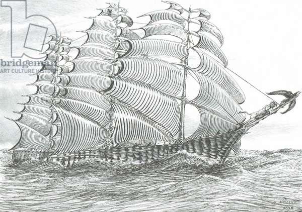 Storm Creators Aral Lake Sea, 2020, (ink and pencil on paper)