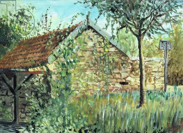 Wash Hut in Laignes, 2006, (acrylic on canvas board)