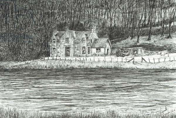 house across the river Spey, 2006, (ink on paper)