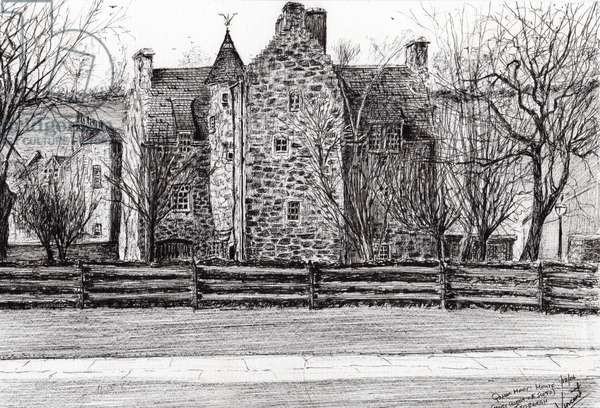 Queen Mary's house Jedburgh, 2006, (ink on paper)