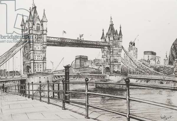 Tower Bridge London, 2006, (ink on Paper)