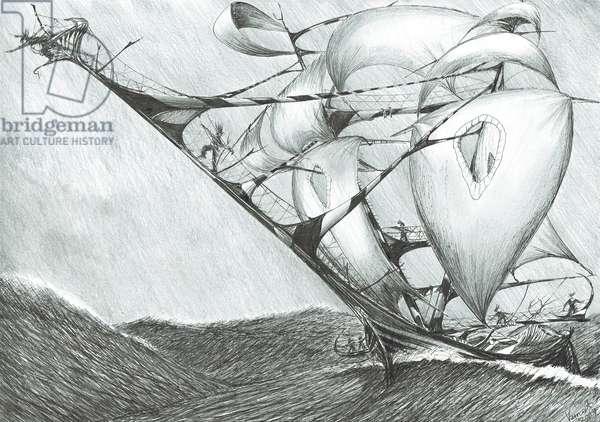 Storm Creators Caspian Sea, 2017, (ink and pencil on Paper)