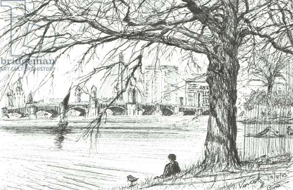The Charles river, Boston. 2003, (ink on paper)