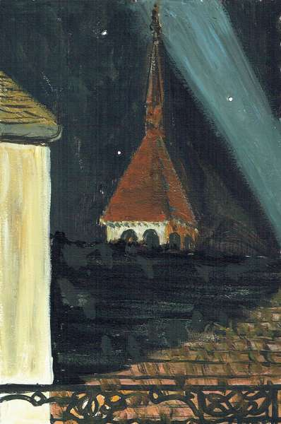 Laignes France rooftop view at night, 2006, (acrylic on paper)