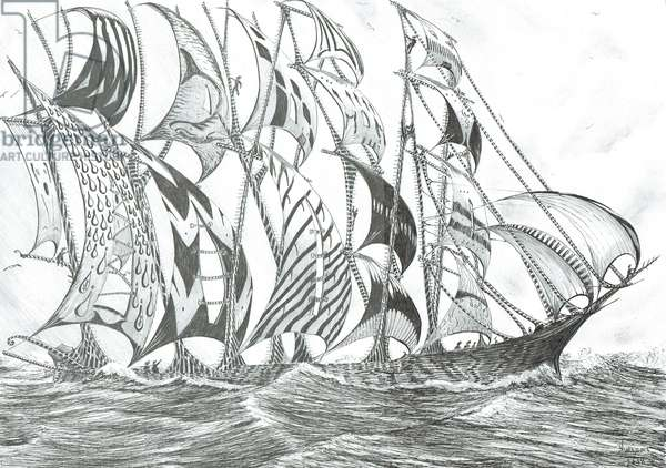 Storm creators Banda Sea, 2018, (ink and pencil on paper)