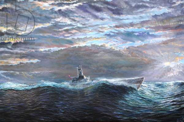 Ascension of USS Puffer October 10-17th 1943, 2020, (oil on canvas)