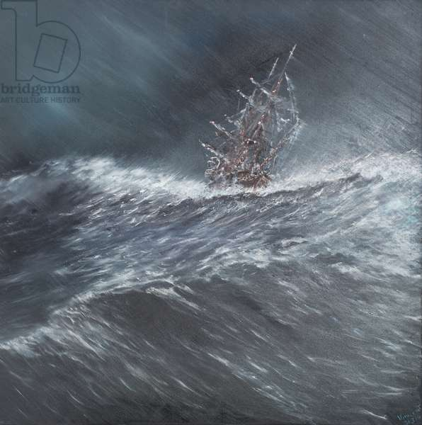 Beagle in a storm off Cape Horn (2) Dec.24th1832, 2014 (oil on canvas)